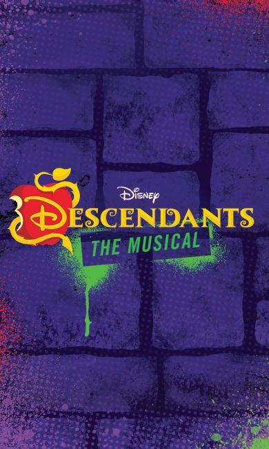 logo of Disney's Descendants The Musical, purple brick background