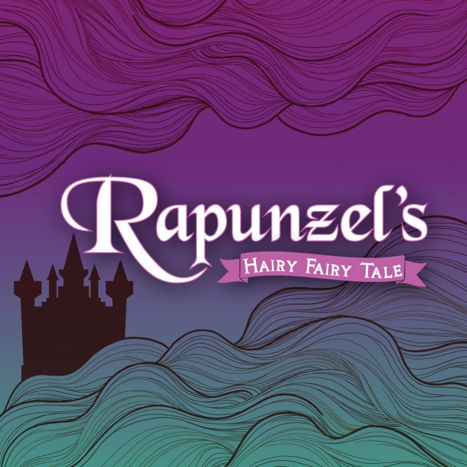purple and green wavy background with text Rapunzel's Hairy Fairy Tale
