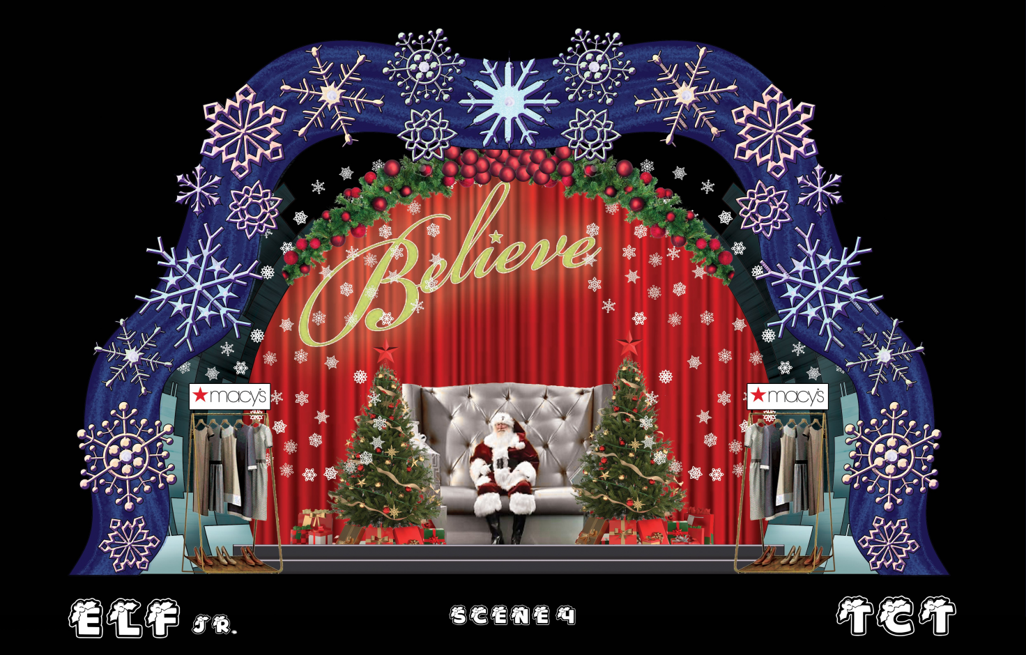 mockup of Elf JR set - blue outline of snowflakes around Santa at the mall